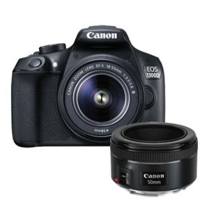 Buy Canon EOS 1300D Digital SLR + EF-S 18-55mm f/3.5-5.6 DC III Lens + EF 50mm f/1.8 STM Lens from Jessops