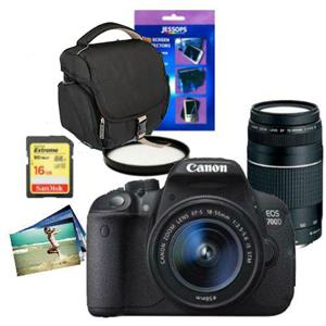 Buy Canon EOS 700D Digital SLR + 18-55mm IS STM Lens + 75-300mm DC III Lens + Accessories Bundle from Jessops