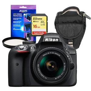 Buy Nikon D3300 Digital SLR in Black + 18-55mm AF-P VR Lens + Accessories Bundle from Jessops