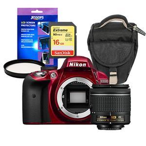 Buy Nikon D3300 Digital SLR in Red + 18-55mm AF-P VR Lens + Accessories Bundle from Jessops